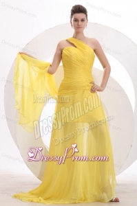 One Shoulder Chiffon Yellow Ruche Prom Dress with Watteau Train