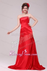 Perfect Column Strapless Brush Train Red Beading and Ruching Prom Dress