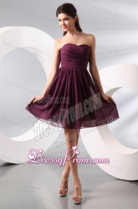 Purple Ruching Short Prom Dress with Knee-length