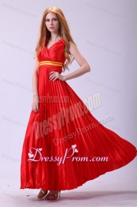 Red Empire V-neck Beaded Decorate Shoulder Prom Dress with Pleats