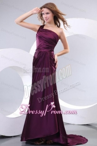 Simple Column One Shoulder Brush Train Taffeta Prom Dress with Ruching