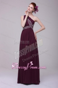One Shoulder Empire Chiffon Beaded Decorate Full Length Prom Dress