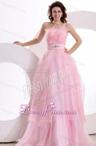 A-line One Shoulder 2014 Organza Pretty Floor-length Beading Prom Dress
