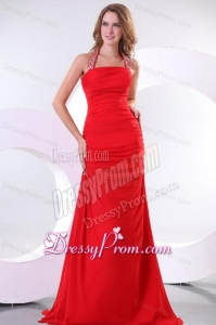 A-line Red Halter Top Neck Beaded Decorate Prom Dress with Side Zipper