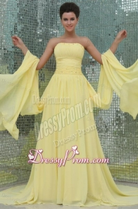 A-line Strapless Beading and Ruching Chiffon Light Yellow Prom Dress