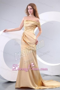 Affordable Column One Shoulder Brush Train Champagne Prom Dress with Ruching