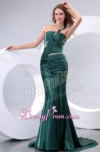 Affordable Mermaid One Shoulder Green Ruching Brush Train Prom Dress