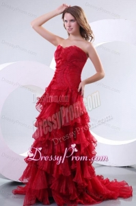 Affordable Princess Sweetheart Brush Train Organza Red Prom Dress