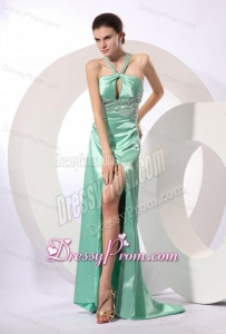 Apple Green Column Brush Train Beading Elegant Criss Cross Elastic Woven Satin Prom Dress with Halter