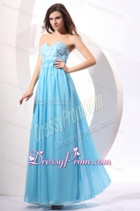 Aqua Blue Empire Sweetheart Floor-length Appliques Prom Dress for 2014
