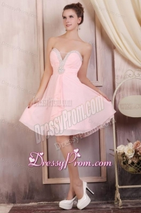 Baby Pink Empire Sweetheart Short Prom Dress with Beading