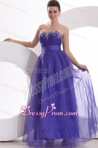 Beautiful Purple Empire Sweetheart Floor-length Tulle Prom Dress with Beading