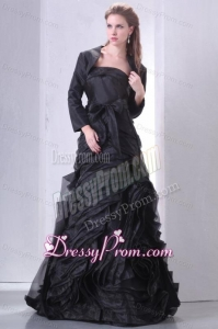 Black A-line Strapless Prom Dress with Layers and Sash