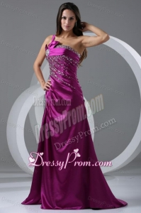 Brush Train Fuchsia A-line One Shoulder Prom Dress with Beading