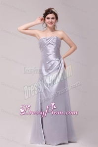 Column Strapless Ruching Taffeta Grey Prom Dresses With Floor-length