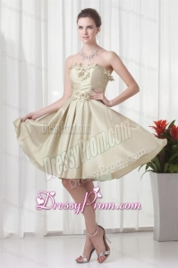 Column Sweetheart Chiffon Ruching and Hand Made Flowers Prom Dress