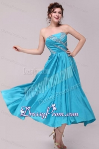 Elegant Aqua Blue A-Line Strapless Taffeta Beading Ankle -length Prom Dress