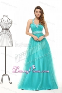 Elegant Aqua Blue Beading A-line Halter Lace Up Tulle Prom Dress