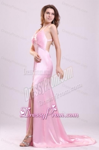 Elegant Pink Column Halter Brush Train Criss Cross Elastic Woven Satin Prom Dress with Beading