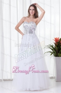 Elegant White A-line Sweetheart Tulle Foor-length Paillette Prom Dress