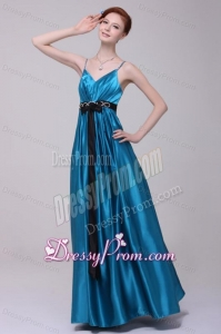 Informal Empire Straps Floor-length Elastic Woven Satin Teal Prom Dress with Beading