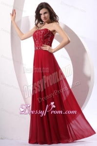 Strapless Beaded Decorate Floor-length Wine Red Prom Dress