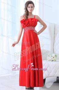Taffeta Red Empire One Shoulder Ankle-length Beading Prom Dress