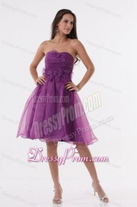 A-line Purple Strapless Appliques Organza Knee-length Prom Dress