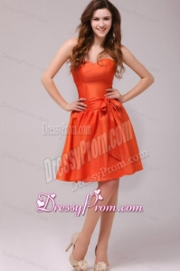 A-line Sweetheart Sashes Taffeta Orange Red Prom Dress