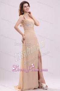 Champagen High Slit One Shoulder Prom Dress with Appliques and Beading