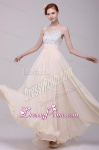 Champagne Spaghetti Straps Empire Chiffon Beaded Decorate Prom Dress