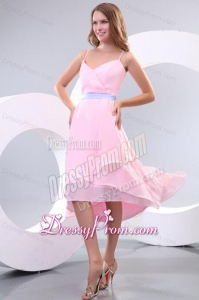 Cheap Baby Pink Spaghetti Straps High-low Prom Dress with Lavender Sash