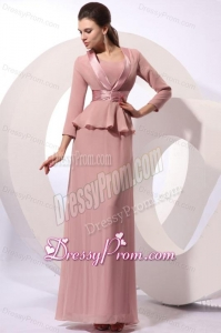 Column Square Long Ruching Pink Chiffon Floor-length Prom Dress