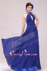 Empire Halter Top Neck Beaded Decorate Brush Train Prom Dress