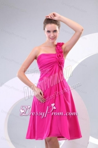 Hot Pink Hand Made Flowers Ruching One Shoulder Prom Dress