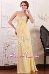 Light Yellow Empire Sweetheart Prom Dress with Beading