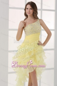 Light Yellow One Shoulder Asymmetrical Organza Prom Dress with Beading