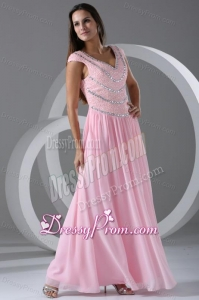 Pink Empire V-neck Cap Sleeves Prom Dress with Beading