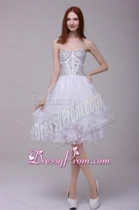 Princess White Beading and Ruffles Organza Prom Dress