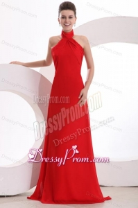 Red Halter Top Neck Empire Chiffon Ruche Prom Dress with Sweep Train