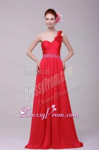Red One Shoulder Beading and Flowers Brush Train Prom Dress