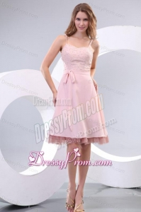 Straps Baby Pink Empire Knee-length Prom Dress with Beading and Bowknot