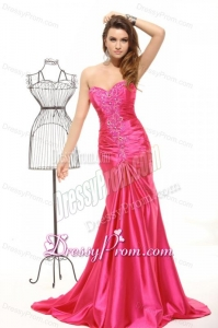 Sweetheart Column Appliques with Beading Prom Dress in Hot Pink