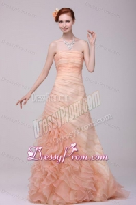 A-line Strapless Floor-length Watermelon Zipper Up Organza Prom Dress with Ruching
