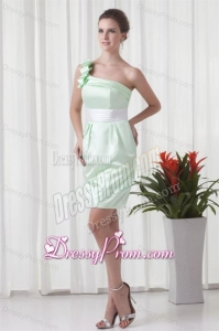 Apple Green Column One Shoulder Taffeta Mini-length Ruching Prom Dress