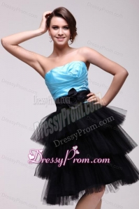Aqua Blue and Black Short Prom Dress with Flowers and Layers