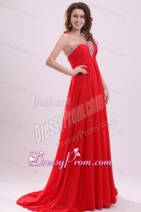 Chiffon Romantic Empire Red Strapless Brush Train Beading 2014 Prom Dress