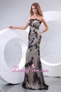 Discout Column Strapless Floor-length Tulle Appliques Black Prom Dress