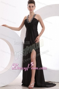 Empire Black V-neck Beading and High Silt Prom Dress with Brush Train