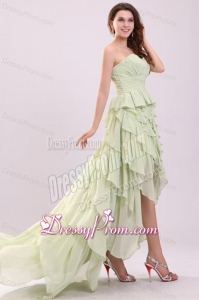 Empire Sweetheart High-low Ruching Chiffon Yellow Green Prom Dress